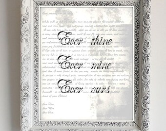 HALF PRICE!!! Ever thine, Ever Mine, Ever Ours - Sex in the City - Ludwig van Beethoven - Love Letters - Quote - Digital File - Carrie & Big