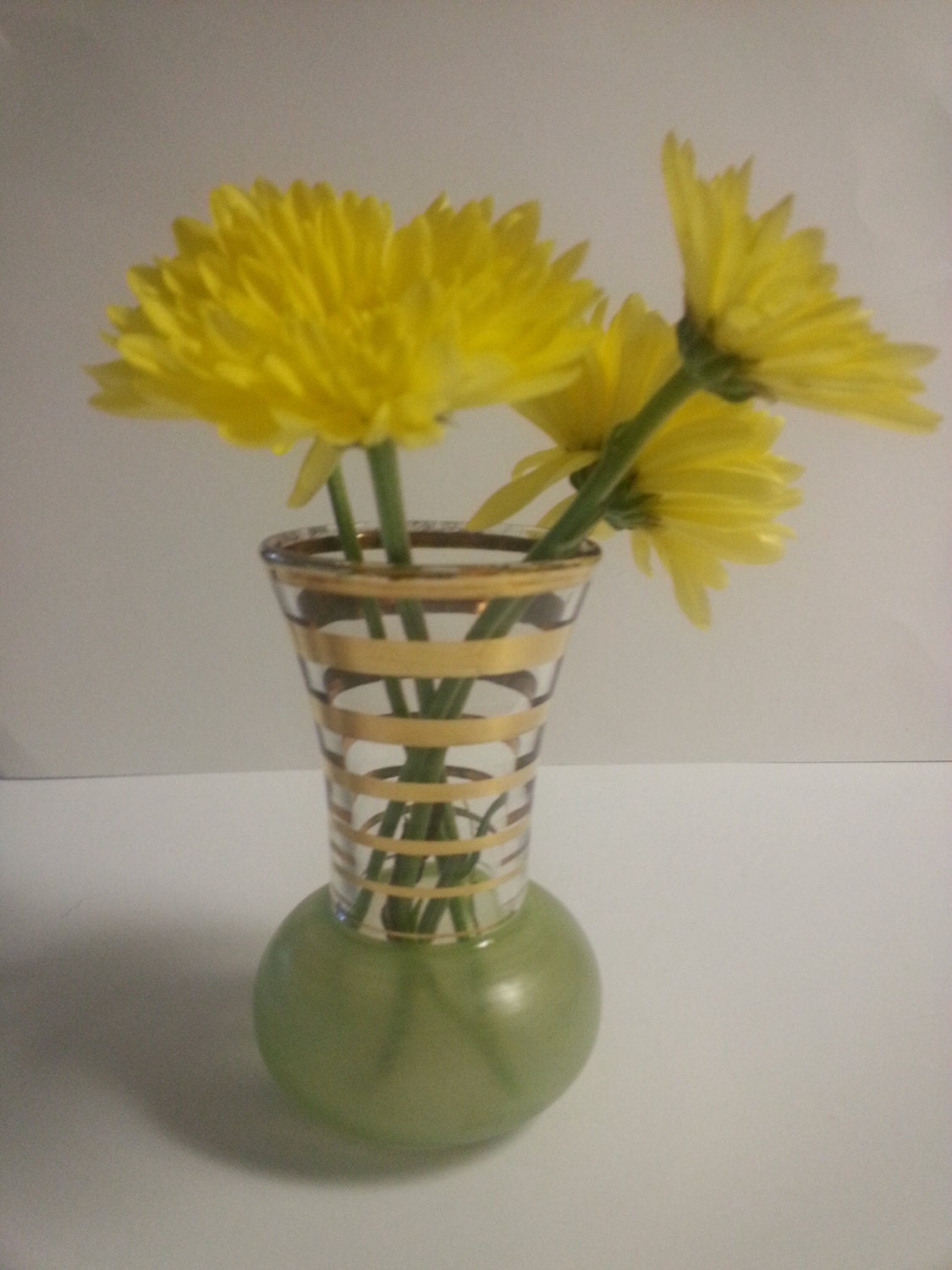 Vintage Mini Bud Vase With Frosted Green Base And Gold