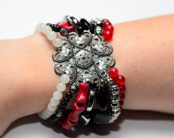 Red, Black & Silver Beaded Stretch Bracelet