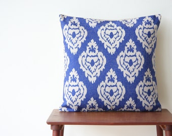 "18""x18"" Damask Decorative Pillow Cover Pillow Case Cushion Cover Moroccan Blue Geometric"