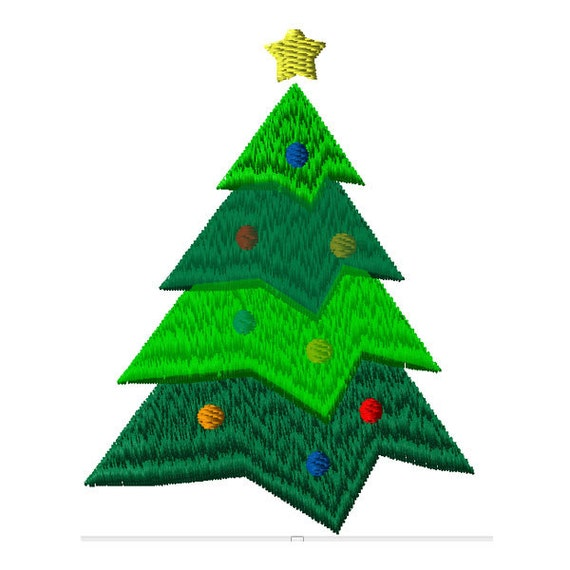 Simple Christmas Tree Machine Embroidery Design 2 Sizes