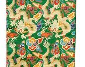 Green Thick Brocade Dragon Tibetan Textile, Tibetan Fabric, Upholstery Fabric