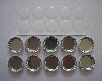 Silver bottle cap kit for 10 bottle caps.
