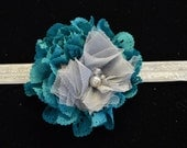 Turquoise Eyelet Chiffon Lace Flower with Gray Tulle Flower on Silver Stretch Lace Headband