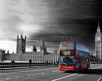 The Houses of Parliament and a London Transport Red Bus