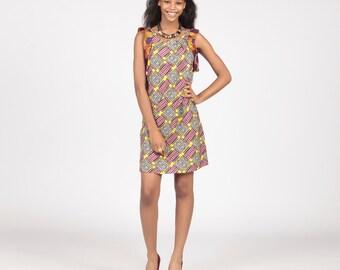 Tunic dress, Ankara dress, African fashion, Short dress, Ankara Print Tunic Dress, Two print Ankara tunic, African print dress
