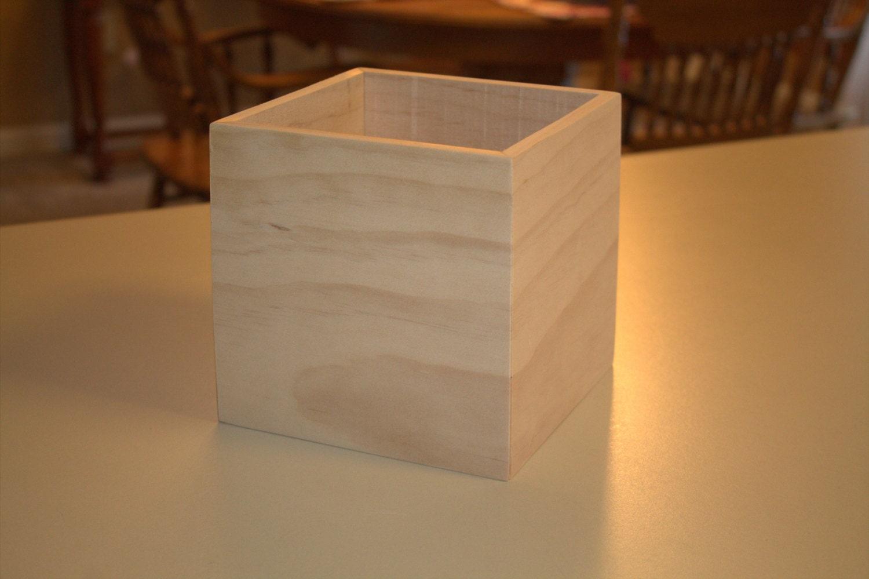 Wooden box unfinished wedding centerpiece flower vase