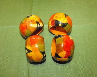 Wooden Napkin Rings ( India ) Setting for 4 / Vintage Mustard Yellow, Orange, Green and Black Colorful