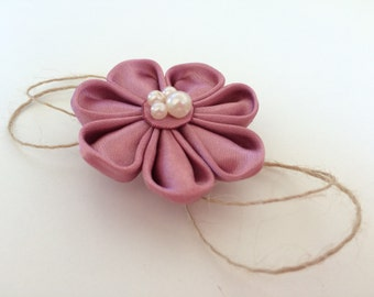 Pastel Pink Satin Flower Brooch, Wrist Corsage or Hairclip