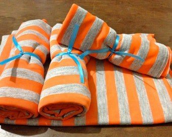 Orange and Grey Striped Infinity Scarf