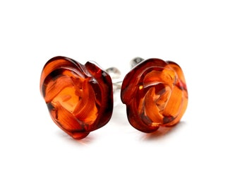 Flower Earrings - Rose Earrings - Rose Stud Earrings - Gift For Her - Baltic Amber Earrings - Cognac Amber Earrings - Flower Jewelry -DO-122