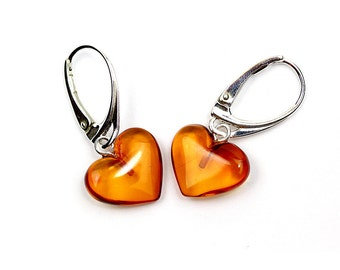 Amber Heart Earrings - Heart Earrings - Dangle Heart Earrings - Valentine's Day Gift - Cognac Amber Earrings - Amber Jewelry -DO-276