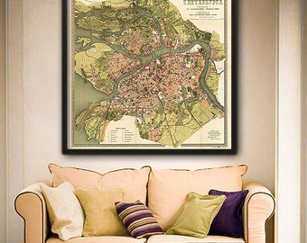 "Map of St Petersburg, Russia 1880, Sankt Peterburg map, 4 sizes up to 48x48"" (122x122cm) in 1 or 4 parts - Limited Edition of 100"