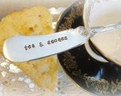 Hand Stamped Silver Jam Spreader Butter Knife  / Tea and Scones / Custom Stamped Vintage Silverware by PrettyAgnes