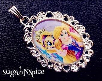 Disney Princess Rapunzel necklace pendant and Blondie Palace Pets Necklace Pendant Cabochon for Chunky Bubblegum necklaces