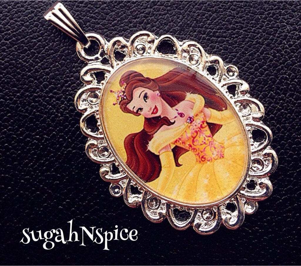 Disney princess belle necklace pendant beauty and the beast for Disney beauty and the beast jewelry