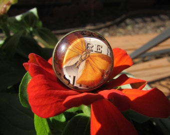 Victorian Adjustable Brass Ring with Antique Orange Butterfly Image Under Polished Glass