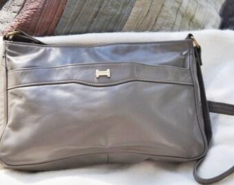 Women's Vintage Leather Shoulder Bag Purse, Taupe Color