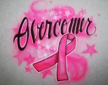 Women's Airbrushed T Shirt Cancer Ribbon, Breast Cancer Shirt, Cancer Ribbon Shirt, Overcomer Ribbon Shirt, Cancer Shirt, Hope S M L XL