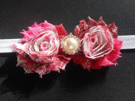 Pink flower Baby Headband, Newborn Headband,  Infant Headband,Baby Headband, Headband Baby, White Baby Headband