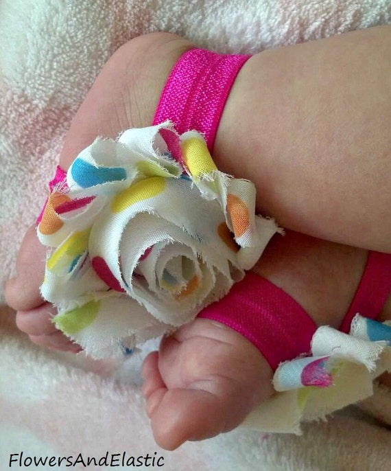 Big Polka dots in White  flower Baby Barefoot Sandals ,Shabby Flowers with Elastic , Toddler Sandals ,Newborn Sandals ,Baby Flower Sandals