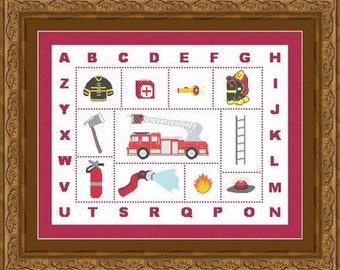 FIREFIGHTER ALPHABET/ pompier -Counted cross stitch pattern /grille point de croix  ,Cross Stitch PDF, Instant download , free shipping
