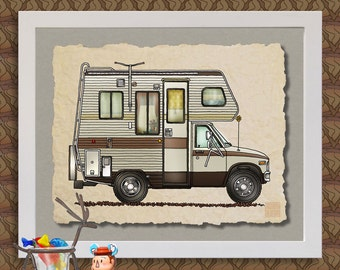 CLASS C RV happy camper art Cute whimsical recreational vehicle and camper prints add fun to trailer or RV as 8x10 & 13x19 wall decor