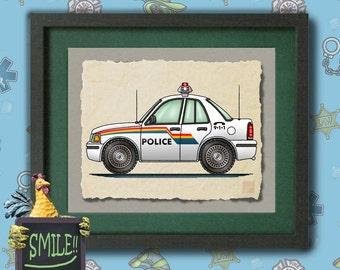 Kid Police Car Art fun police cruiser Whimsical vehicle  print adds to kids room emergency vehicles as 8x10 or 13x19 wall decor