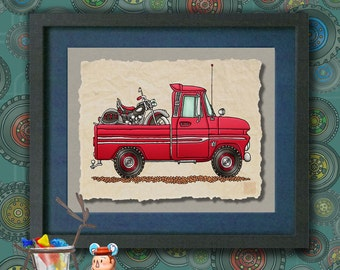 Kid Truck Art Cute Pickup With Motorcycle Whimsical vehicle print adds to kids room transportation art as 8x10 or 13x19 wall decor