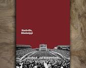 "Mississippi State Bulldogs Poster Man Cave Art Print Football College Sports Dorm Decor 12x16"""