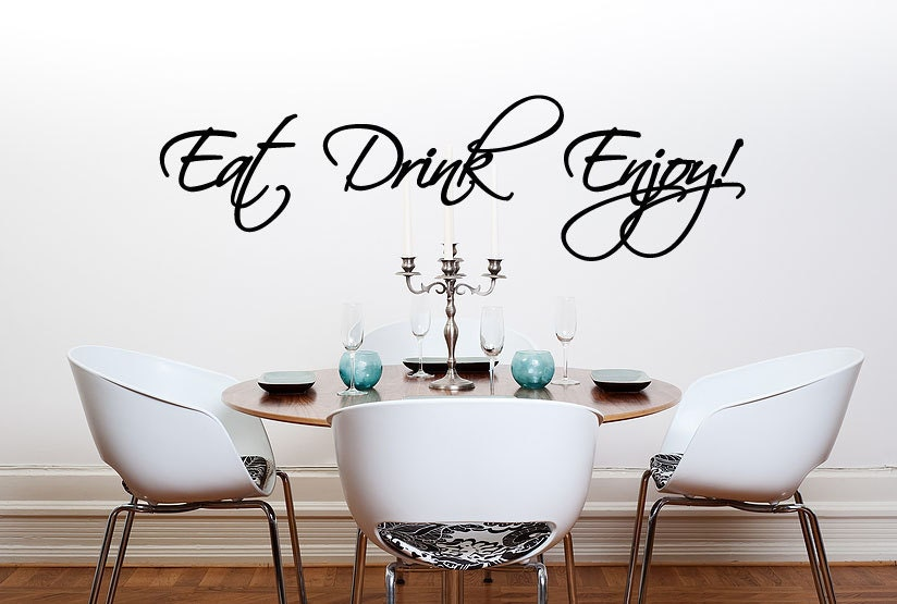 Eat Drink Enjoy Wall Decal Kitchen Wall Sticker Words Dining - Dining room wall decals