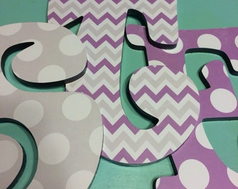 Custom Decorated Wooden Letters - SISTERS - purple and gray - chevron