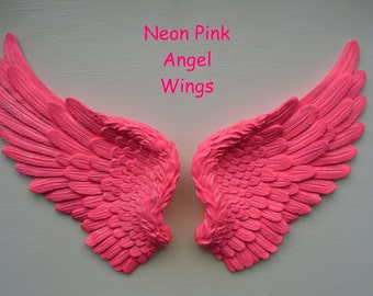 Vintage Antique Style Shabby Chic Neon Pink Angel Wings Wall Art Decoration
