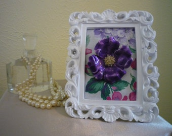 Vintage Purple Flower Brooch - Wearable Framed Art