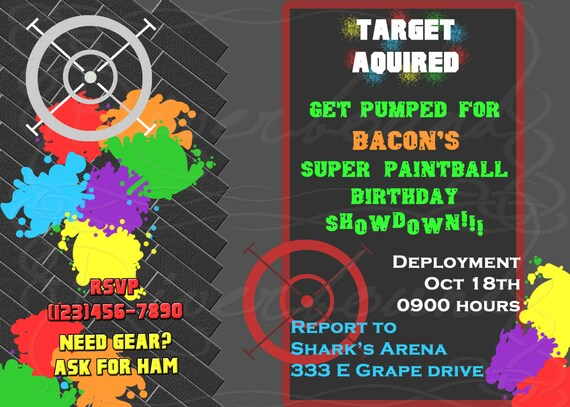 printable birthday invitation paintball or by