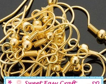 40,80,160pcs Gold Plated Earring Hooks jewelry supplies finding
