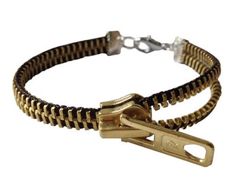 "Recycled zipper bracelet ""Black"""