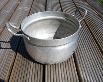 Vintage Soviet Aluminum Pot Made in USSR Garden Decor Farmhouse Kitchen Decor Russian Soviet Union