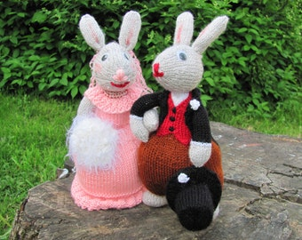Handmade knitted wedding bunnies bride and groome