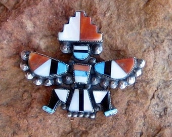 OLD ZUNI KNIFEWING Brooch, Turquoise, Coral, Onyx & Mother of Pearl, Sterling