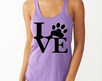 Eco Jersey Racerback Tank Top LOVE/LOVE PAW, Animal Lover Tank Top, Vegan Tank Top, Screen Printed, Vegan Shirt, Trending Tops, Screen Print