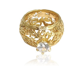 Filigree ring GOLD Filled Ring ,flower rings, gold jewelry, birthday gift ideas for her