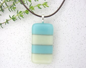 Fused Glass Jewelry Pendant - Stripes French Vanilla Turquoise