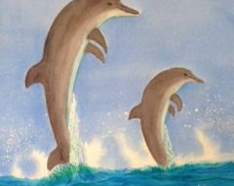 "2 Porpoises jumping Original Watercolor Image 16"" X 20"" vertical"