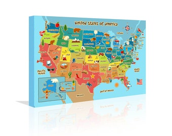 Map Of Usa Etsy - Us map canvas