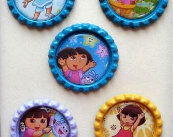 5 Dora Inspired Finished Bottle Caps-Set 3
