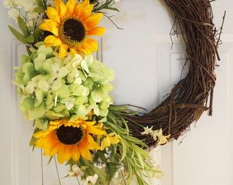 Rustic Wreath Hydrangea Wreath Sunflowers Bloom Spring Fall Door Decor,Autumn Flower Bouquet