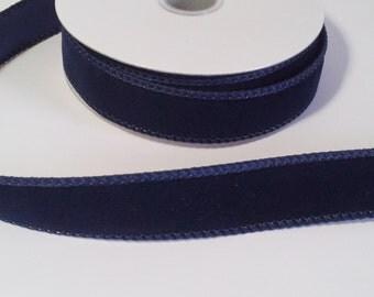 "7/8"" Navy Blue Velvet Ribbon - 10 Yards"