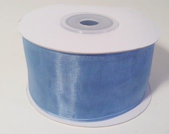 Sheer Organza Ribbon - Antique Blue - 25 Yards