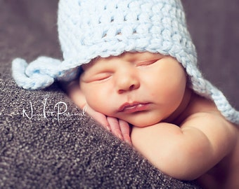 Hand Crochet Baby Hat  Blue Earflap Photography/Photo Prop Newborn- 2 Years Boy's  UK Seller